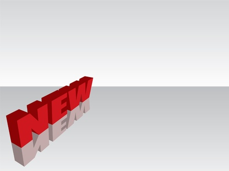 bright red NEW3d text isolated on mirror background Stock Photo - 8980134