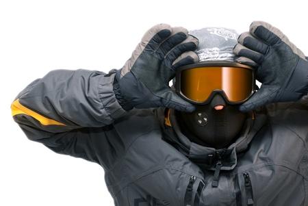 anticiparse: Retrato de chico en gafas de snowboard, aislado  Foto de archivo