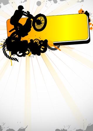 silueta moto: Deporte de motocross de grunge (fondo, la revista web, slyer,...)  Foto de archivo