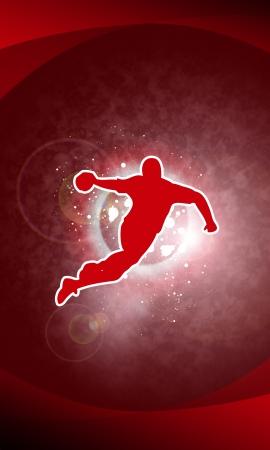 balonmano: Balonmano tiro de fondo con el espacio (carteles, web, folletos, revistas)