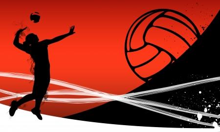 волейбол: Волейбол фон с пространством плакат, веб, листовки, журналы