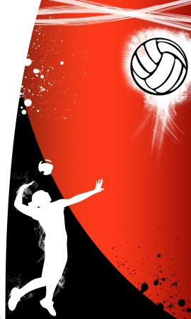 female volleyball: Volleyball background with space  poster, web, leaflet, magazine  Stock Photo
