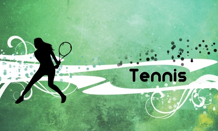 tennis girl: Tennis background with space (poster, web, leaflet, magazine) Stock Photo