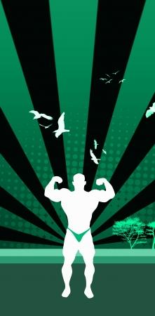 deltoids: Bodybuilder background with space  poster, web, leaflet, magazine