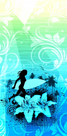 Surfing girl background with space  poster, web, leaflet, magazine  photo