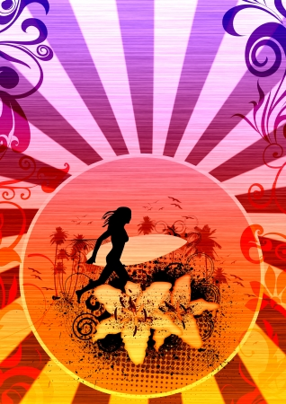 swashes: Surfing girl background with space  poster, web, leaflet, magazine