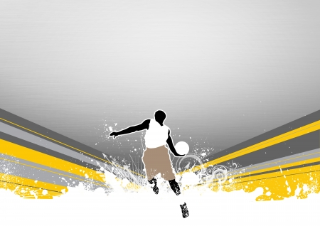 Basketball jump background with space  poster, web, leaflet, magazine  photo