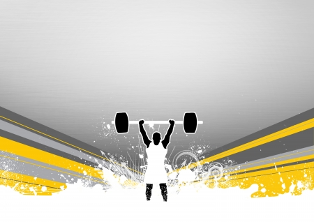 Weight lifter background with space  poster, web, leaflet, magazine  photo