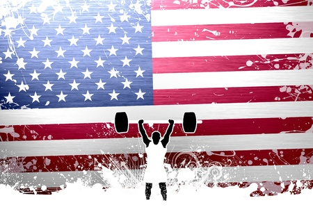 lifter: Weight lifter background with space  poster, web, leaflet, magazine  Stock Photo