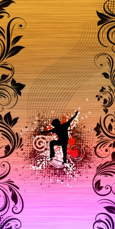 boarder: Skate jumping background with space (poster, web, leaflet, magazine)