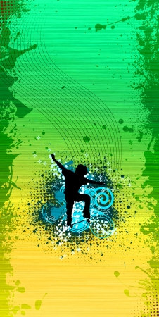 skateboarder: Skate jumping background with space (poster, web, leaflet, magazine)