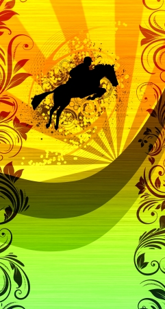 jumping horse background with space (web, leaflet, magazine, poster) photo