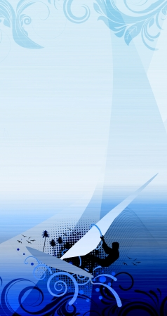 wind surfing: Windsurf background with space (poster, web, leaflet, magazine)