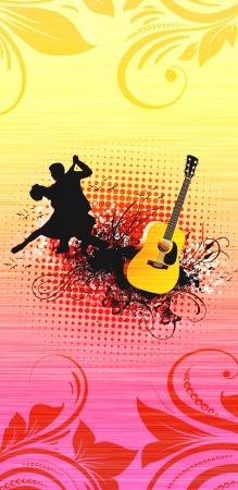 bailando salsa: La pasión de fondo de baile con el espacio (carteles, web, folletos, revistas)