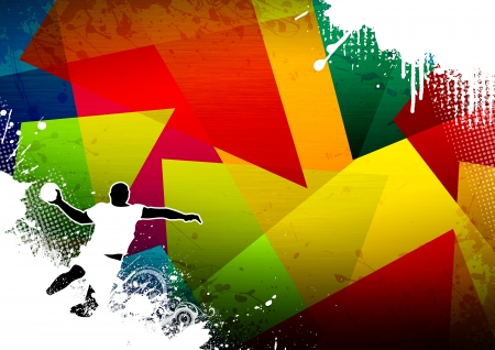 Handball shot background with space (poster, web, leaflet, magazine) photo