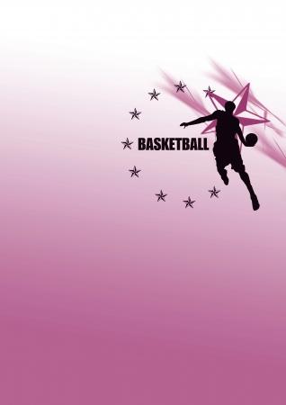 mvp: Jumping, basketball background (poster, web, leaflet, magazine) Stock Photo