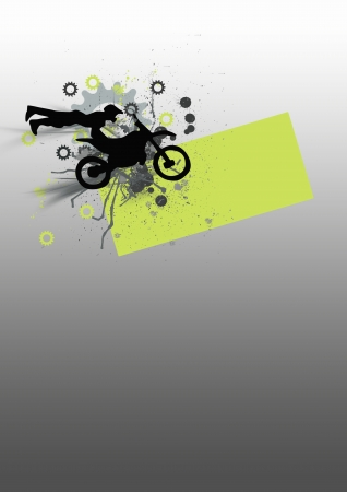 Motocross jumping background (poster, web, leaflet, magazine) photo