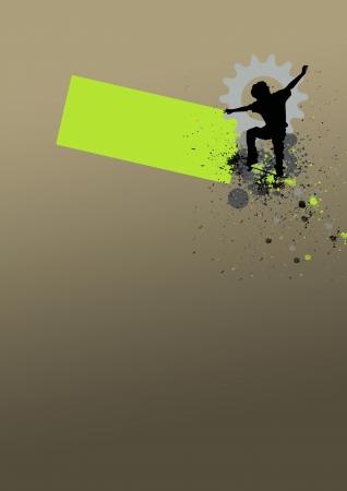 spattered: Skate jumping background (poster, web, leaflet, magazine) Stock Photo