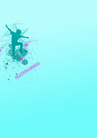Skate jumping background (poster, web, leaflet, magazine) photo