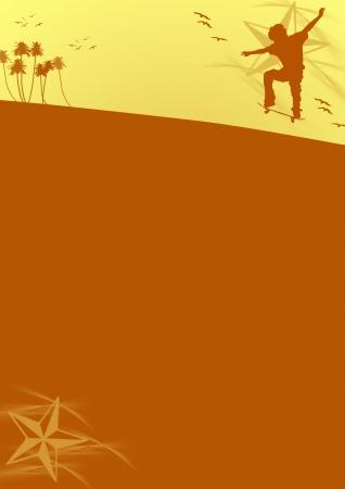 Skate jumping background (poster, web, leaflet, magazine) Stock Photo - 14094135