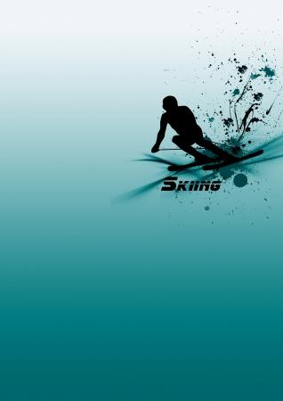 skying: Skying man background (poster, web, leaflet, magazine)
