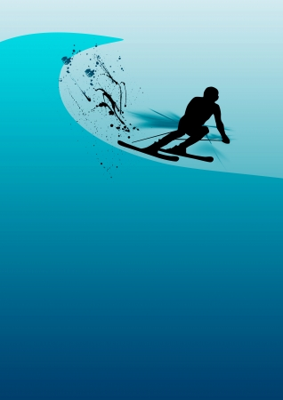 Skying man background (poster, web, leaflet, magazine) photo