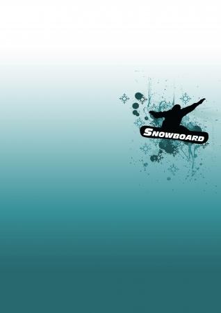 spattered: Snowboard man background (poster, web, leaflet, magazine) Stock Photo