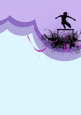 hurdles: Hurdles athlete background with space (poster, web, leaflet, magazine)