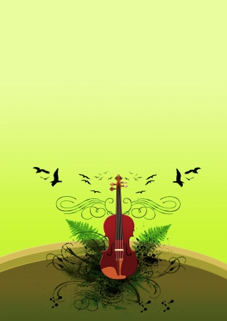 Classic music Violin background with space (poster, web, leaflet, magazine) photo