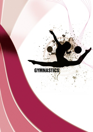 rhythmic gymnastic: Gymnastics background with space (poster, web, leaflet, magazine) Stock Photo