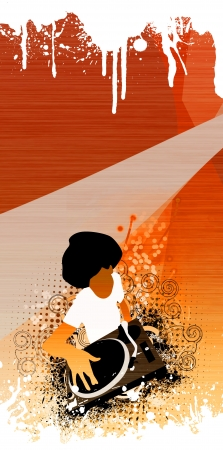 Abstract grunge Afro DJ background with space Stock Photo - 14094241