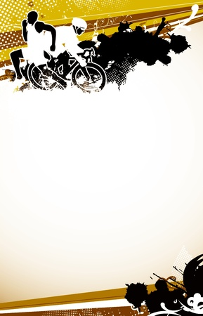 Abstract grunge duathlon sport background with space