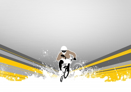 Abstract grunge BMX cyclist sport background with space photo