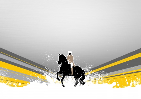 horse background: Abstract grunge horse jumping sport background with space