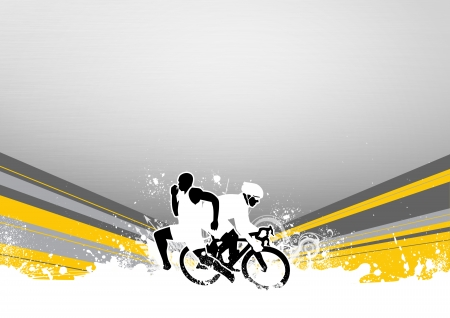Abstract grunge duathlon sport background with space photo