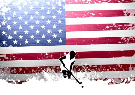 Abstract grunge Field Hockey sport background with space photo