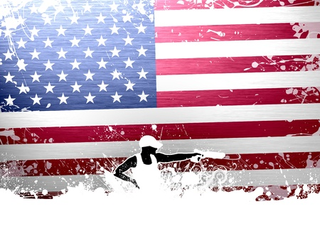 firing: Abstract grunge pistol shot sport background with space
