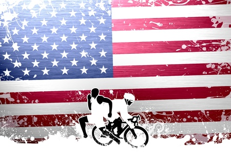 swimming competition: Abstract grunge duathlon sport background with space