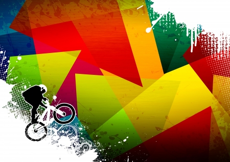bmx bike: Abstract grunge BMX jumping sport background with space Stock Photo