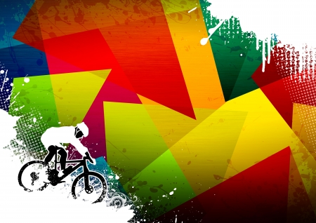 Abstract grunge mountain bike sport background with space photo