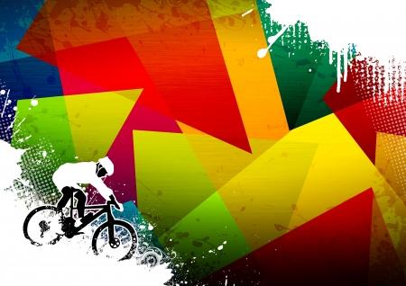 mountain bicycle: Abstract grunge mountain curriculum sportivo moto con lo spazio Archivio Fotografico