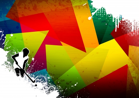 intercept: Abstract grunge Field Hockey sport background with space