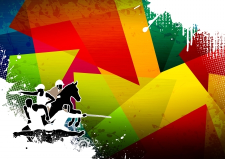 pentathlon: Abstract grunge pentathlon sport background with space