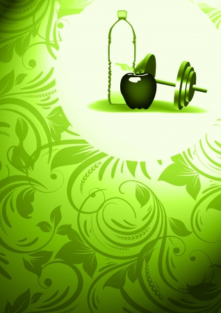 kilos: Abstract apple and water fitness background with space