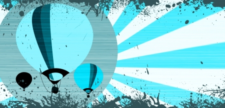 adventure aeronautical: Abstract grunge Hot air ballon background with space