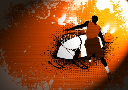 Abstract grunge Basketball jump background with space