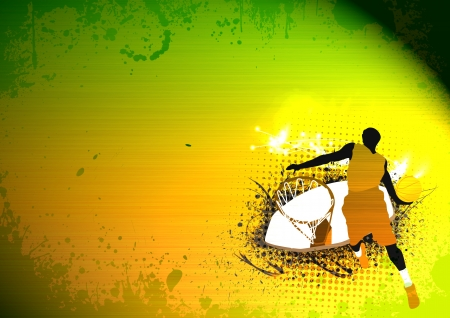 nba: Abstract grunge Basketball jump background with space