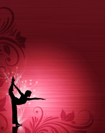 yoga girl: Abstract color yoga or ballet background with space