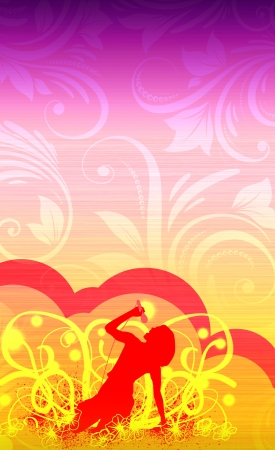 Abstract color karaoke girl background with space photo