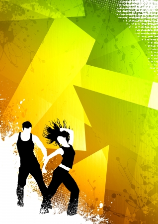 Abstract color zumba fitness dance background with space photo